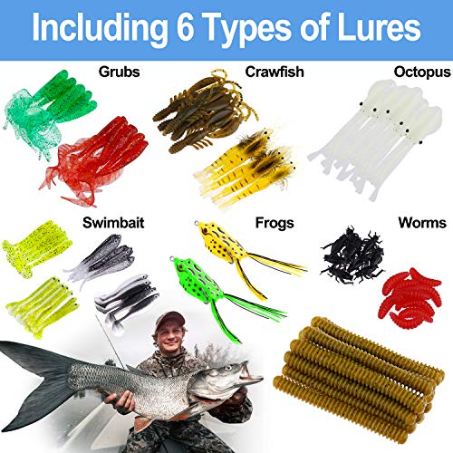 ODDSPRO Fishing Lures Baits Fishing Tackle Kit Set Including Paddle Tail Swimbaits Jerkbait Senko Worms Craw Baits Curved Tail Grubs Fishing Accessories for Freshwater or Saltwater