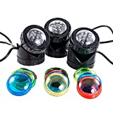 Jebao Submersible 3 pcs 12-Led Pond Lights for Underwater or Above Water Fountain Pond Water Garden