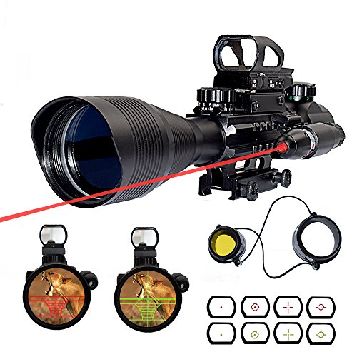 Feyachi 3 in 1 Riflescopes 4-12X50EG with Dual Illuminated Reticle + 4 Red&Green Holographic Dot Sight + Red laser sight