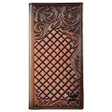 Hooey Brand Signature Diamond Tooled Floral Border Leather Rodeo Wallet - 1829137W3