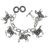 Gypsy Jewels Horse Dangle Charms wih Hematite Color Rhinestones Silver Tone Toggle Bracelet (Open Swirl)