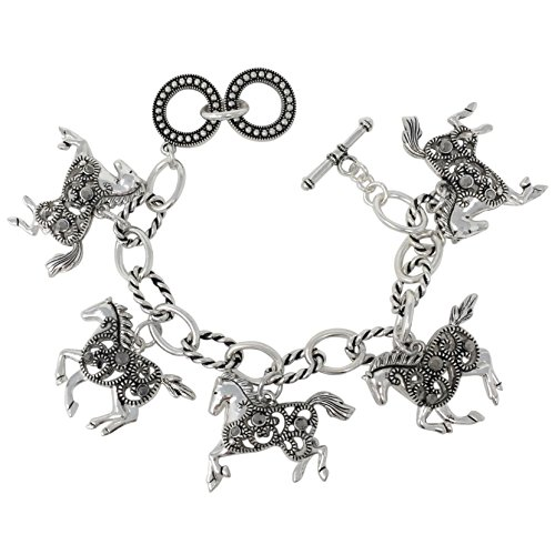 Horse Dangle Charms wih Hematite Color Rhinestones Silver Tone Toggle Bracelet (Open Swirl)
