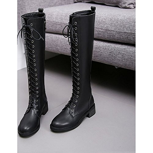 Black Boots for ZHZNVX Boots Toe Women's PU HSXZ Round Knee Shoes Black Chunky Heel Combat Boots Winter High Casual qA1qUZr