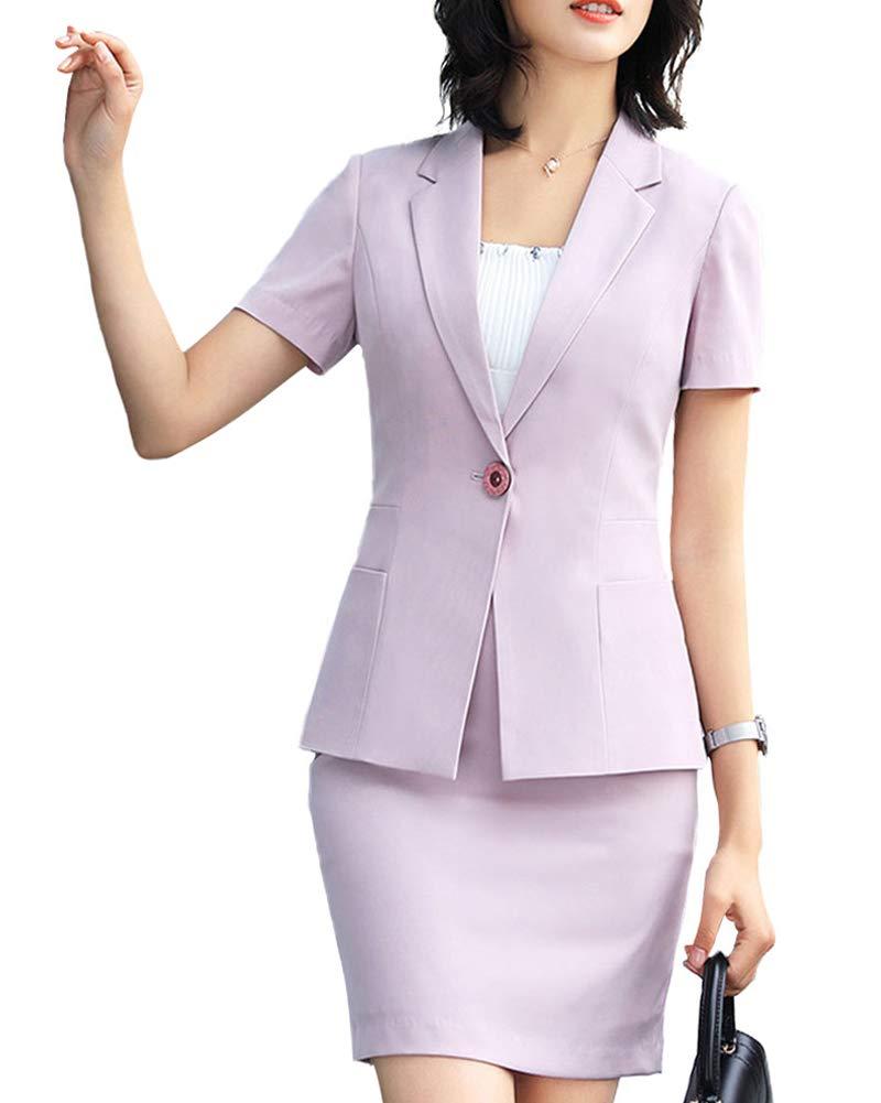 Women 2 Pieces Dress Skirt Slim Fit Office Lady Blazer Suit Set
