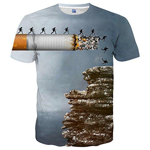 YAJOOEY Unisex Casual 3D Printed Short Sleeve T-Shirt Tees ()