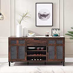 Home Bar Cabinetry Click Clack Kitchen Sideboard, Dining Buffet Cabinet, Home Bar with Drawers and 8-Bottle Wine Rack, Storage Cupboard for… home bar cabinetry
