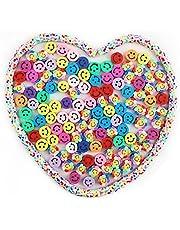 SAVITA 200st Smile Handgemaakte Kralen met Kleur Pakking Gemengde Kleuren Smile Polymeer Klei Kralen Polymeer Klei Kralen Smile Bloem Kralen voor Het Maken van Sieraden, 10mm