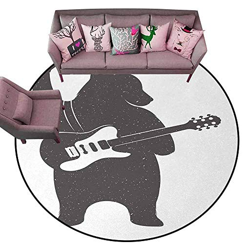 Floor Entrance Rug Bear,Funny Character Musician with Guitar and Hand Gesture Grunge Retro Rock n Roll,Dark Taupe White Diameter 66