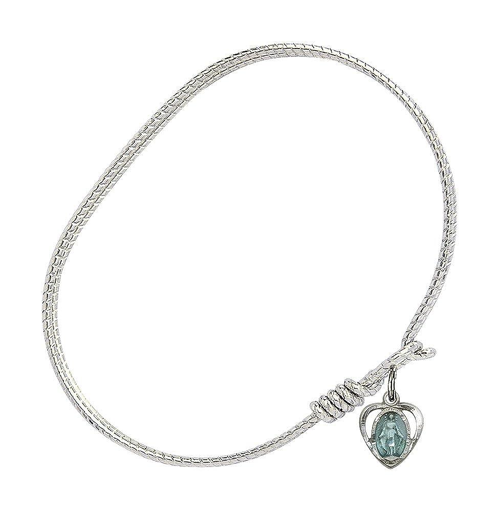 Miraculous Heart Charm On A 6 1//4 Inch Oval Eye Hook Bangle Bracelet