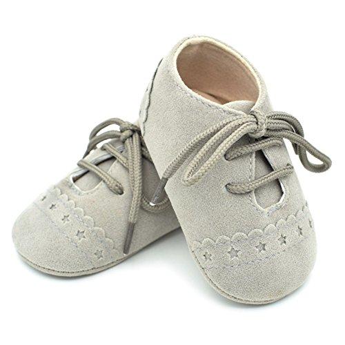 BOBORA Chicas Chicos Primer Caminar Zapatos De Bebe Talle PU Zapatos Con Cordones De Los Zapatos Gris claro