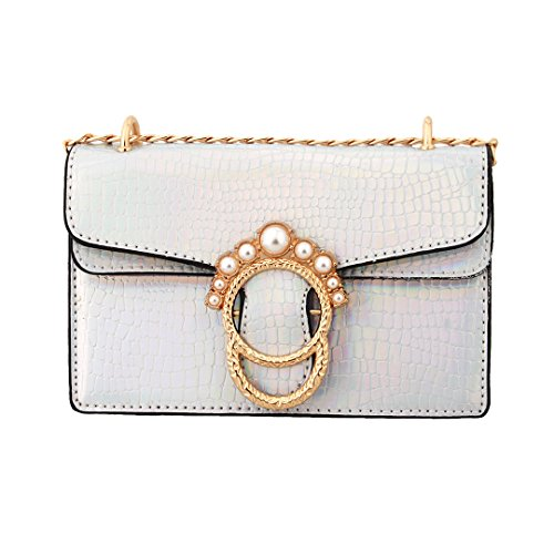 Evening Crossbody Bag Shoulder Sequin Gabrine Purse Wedding Dailywear for Womens Clutch 00584 Silver Party Handbag SnAqnt