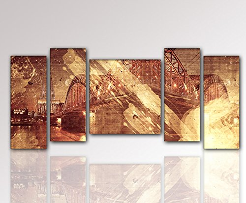 Bridge Wall Art 5 Panels Cityscape Prints on Canvas Modern Artwork Golden Color for Home Decor Living Room Bedroom - Reading Glasses Vegas Las