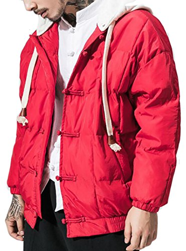 today-UK Mens Outdoor Full Zip Hoodies Quilted Loose Down Jackets Coat Red