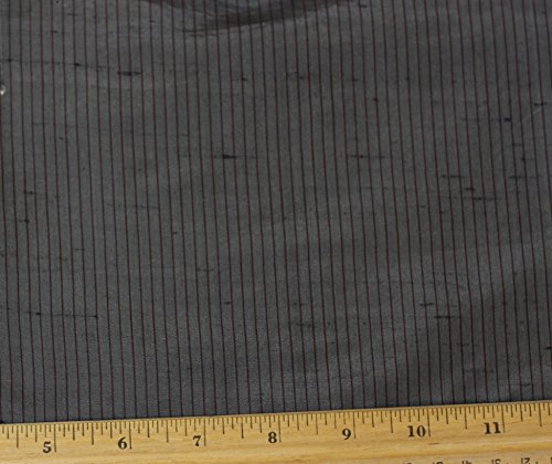 (Grey Pinstripe Dupioni Stripes, 100% Silk Fabric, By The Yard, 54