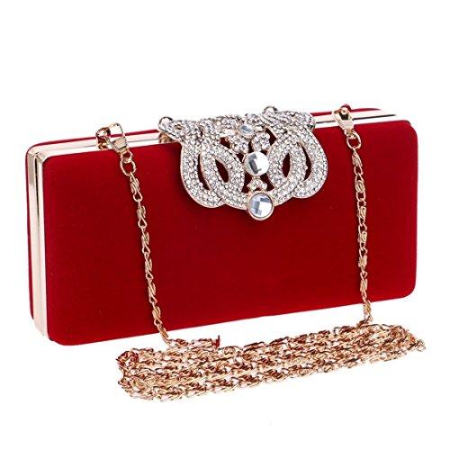 Shoulder KERVINFENDRIYUN Crown Bag Black Color Women's Clutch Purse Crossbody Red Red Blue Bag Evening Diamond xHHvIr
