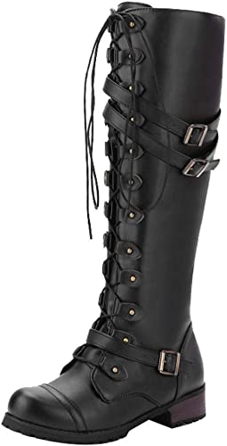 Women Winter Retro PU Leather Lace Wild Knee High Riding Boots Mid-Heels Shoes