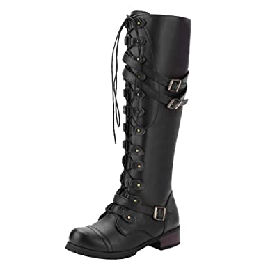 1efedd8dbae Women Vintage Boots,Mosstars Military Combat Steampunk Gothic Retro Style  Footwear Winter Square Low Heel Knee-High Lace-Up Punk Buckle Boot Shoes