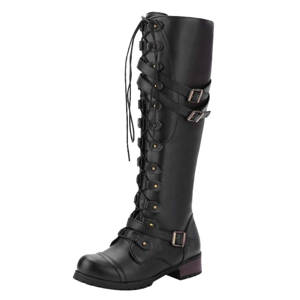 Women's Knee High Riding Boots Lace Up Buckles Winter Military Combat Boots (Black, US:8.5)