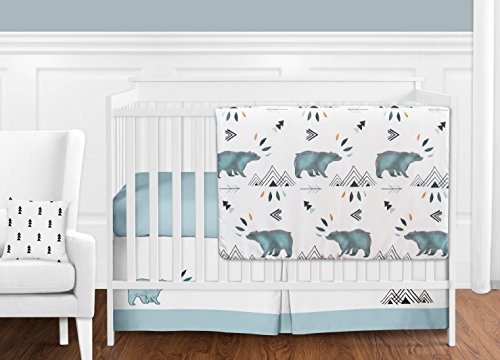 Sweet Jojo Designs 11-Piece Bear Mountain Watercolor Baby Boy Crib Bedding Set Without Bumper
