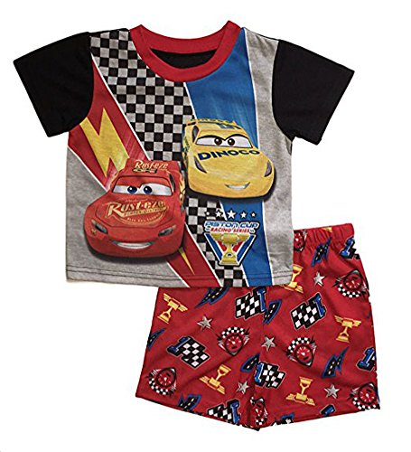 Disney Cars 3 Little Boys Toddler Poly Short Pajama Set (2T, Red)
