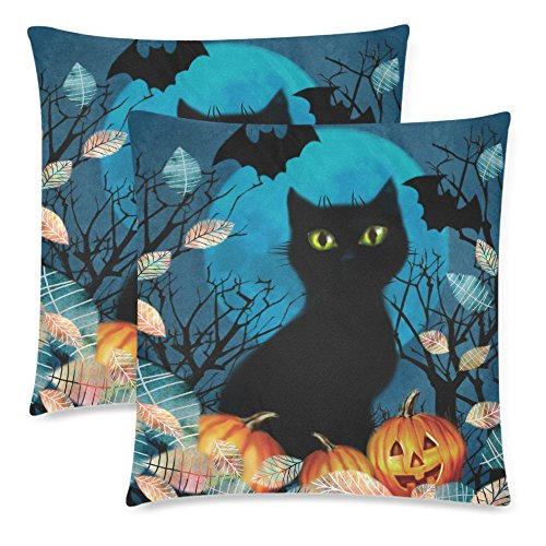 InterestPrint Funny Black Cat on a Full Moon with Pumpkin Pillowcase Pillow Case Cover 18x18 Twin Sides, Dark Autumn Fall Tree Leaves Polyester Zippered Cushion Case Decorative, Set of 2