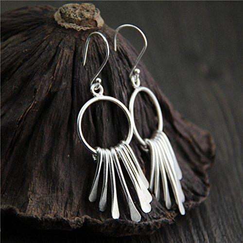Tribe Silver Ring Karen Hill - Handmade Vintage Sterling 925 Silver Earrings With Box Packing, Karen Hill Tribe Silver Earrings,Boho Earrings