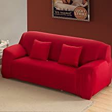 Bluecookies Stretch Arm Elastic Loveseat Slipcover, Red