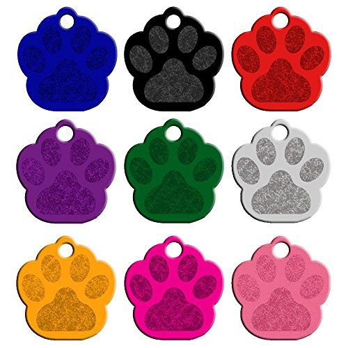 Hundemarke Pfote rosa, Hundeanhänger, Anhänger fürs Halsband - Halsbandanhänger - Katzenmarke - in viele Farben mit Wunschtext