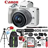 Canon EOS M50 Mirrorless Camera Body with 4K Video (Black) Deluxe 64GB Triple Battery Bundle with Shotgun Mic, Backpack, Tripod and More (EF-M 15-45mm Lens Kit (White))