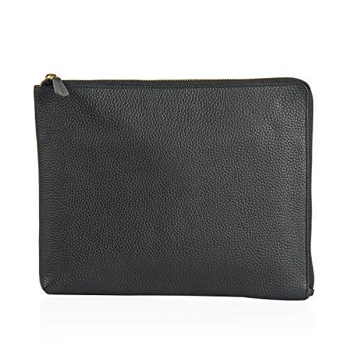 - Shop LC Delivering Joy Black Genuine Pebbled Leather Saddle Organizer Zipper Pouch 11x8.5