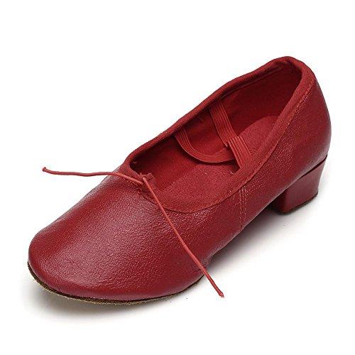 HIPPOSEUS Damen & Mädchen Sandalen Ausgestelltes Tanzschuhe/Ballsaal Standard Latein Dance Schuhe,DE101 Rot-2