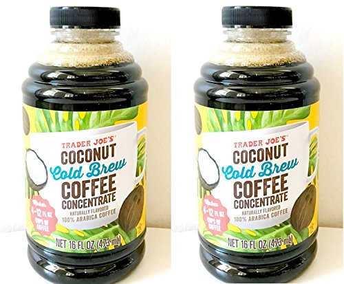 Trader Joe's Coconut Cold Brew Coffee Concentrate 473 ml. (Pack of 2 bottles)