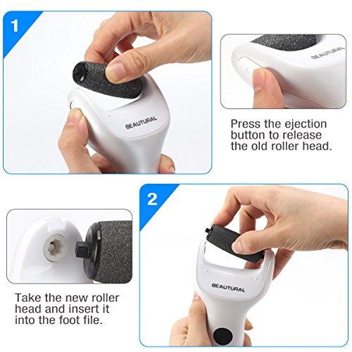 Beautural Waterproof Professional Electronic Foot File Callus Remover Wet amp Dry Rechargeable Pedicure Tool Easily Remove Dead Callus and Smooth Foot Skin 1 Coarse  2 Replacement Included