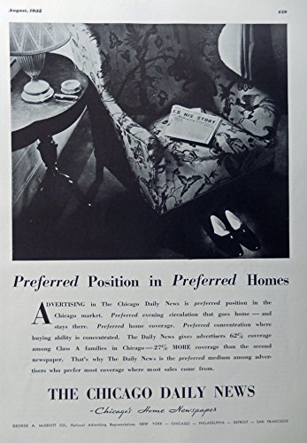 ws, Chicago's Home Newspaper, 30's Full Page Print Ad. B&W Illustration (preferred position in preferred homes) authentic original vintage 1935 Esquire Magazine Art ()