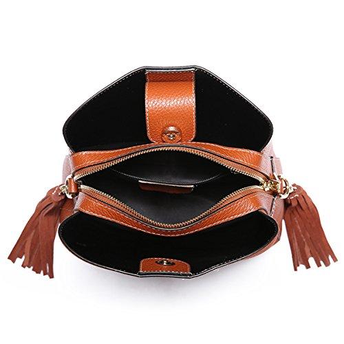 Q0952 Soft Pockets Multiple Dissa Bag Handbags Shoulder Leather Women brown dgEEwp