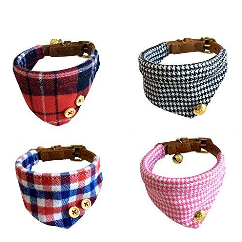 Z-YQL 4 Pack Classic Puppy Collars Small Dogs Adjustable Buckle Plaid Red Bandana Collar Leather Dog Scarf (Dog Bandana Collar)
