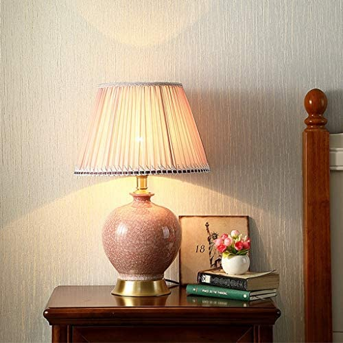 CJH Creative American Ceramic Table Lamp Bedroom Bedside Lamp Pink Table Lamp Study Room Living Room Copper Decorative Table Lamp