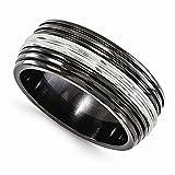 Edward Mirell Black Titanium and Stainless Steel 9mm Wedding Band - Size 13