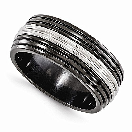 Edward Mirell Black Titanium and Stainless Steel 9mm Wedding Band - Size 13 by Edward Mirell