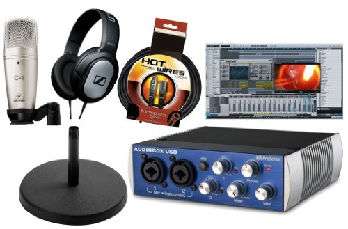 (Presonus Audiobox USB DAW Recording Bundle with Studio One Artist Recording Software, Behringer C1 Large Diaphragm Condenser Microphone, Sennheiser HD201 Headphone, Desk Stand & 10ft XLR Cable, Black)