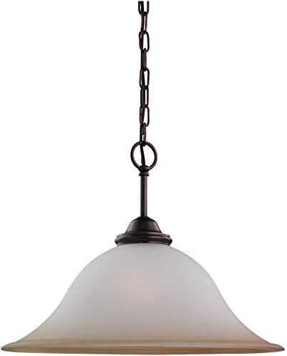 Sea Gull Lighting 65360-829 Single-Light Rialto Pendant, Ginger Glass Shade, Russet Bronze