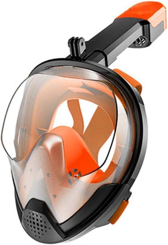 Mascarilla Facial Snorkel, Buceo máscara Anti-Niebla Plegable Piscina Infantil Snorkel máscara Adulta Buceo Submarino Lentes Aparato de Entrenamiento, Orange, L/XL ZHNGHENG