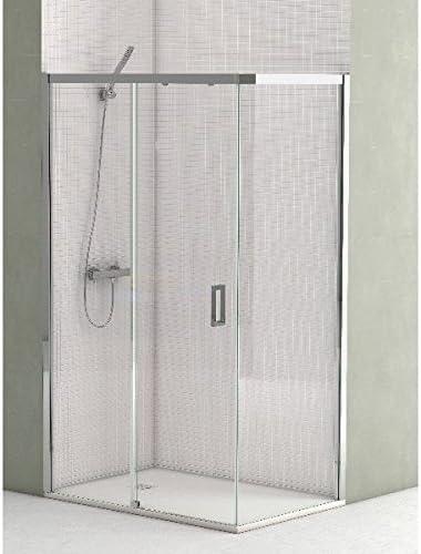 CV - Mampara de ducha angular de 100cm con cristal fijo de 80 cm ...