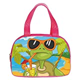 """Vogue Small Handbag Pink,Turtle,Cool Sea Turtle with Sunglasses Drinking Cocktail at the Beach Cartoon,Green Orange Light Blue,for Girls,Diversified Design.6.3""""x9.4""""x1.6"""""""