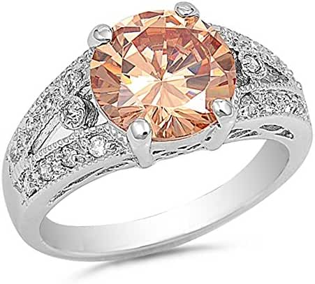 Round Champagne Cubic Zirconia Solitaire Ring Sterling Silver