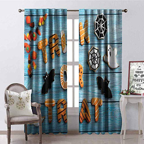 GloriaJohnson Vintage Halloween Wear-Resistant Color Curtain Trick or Treat Cookie Wooden Table Ghost Bat Web Halloween Waterproof Fabric W100 x L84 Inch Blue Amber Multicolor -