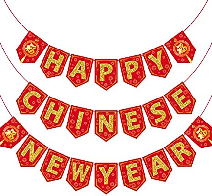 Chinese New Year Bunting Banner Letter 2020 Year Of Rat Party Bunting Banner Festive Decorations For Chinese New Year Amazon Sg Toys Games