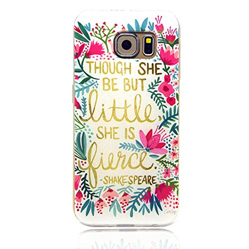 Galaxy S6 Edge Case,WenBelle Bumper **NEW** [Ultra Hybrid] [Crystal Clear] A Style Hybrid Fancy Colorful Pattern Hard Soft Silicone Back Case Cover Fit for Samsung Galaxy S6 Edge (flowers poetry)