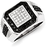 Sterling Silver Rhodium Plated Black and White Diamond Mens Ring - Ring Size Options Range: R to V