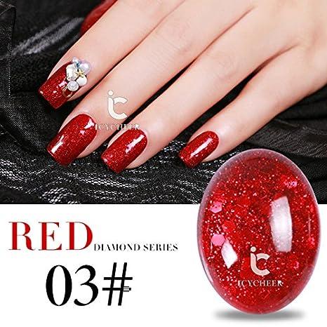 Glitter Soak Off UV Gel Polish Nail Art Decoración Color Rojo Serie Vanish Salon: Amazon.es: Belleza